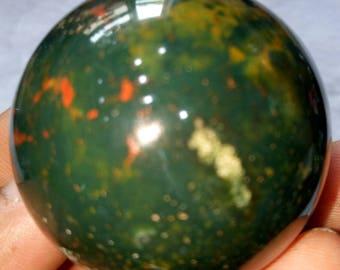 4cm BLOODSTONE Crystal Sphere - Indian Blood Stone, Heliotrope,  Healing Crystal Stone
