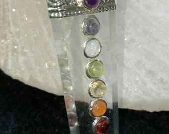 7 Chakra CRYSTAL QUARTZ Stone PENDANT With 7 Chakra Stones.
