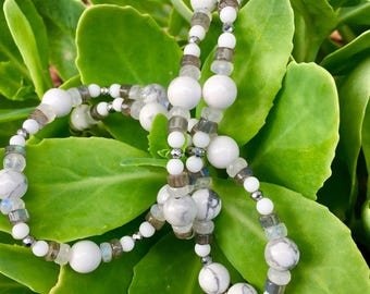 Bare Bones Beautiful 23 inch Beaded Necklace; 3/4 inch Howlite Skull Pendant; Howlite, Moonstone, Labradorite Beads; Lobster Clasp