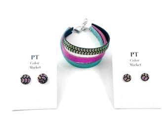 Mermaid Leather Bracelet and Earring Set, Leather Bracelet and Earring Set, Gift for Her, Jewelry Set for Her, Mermaid Jewelry