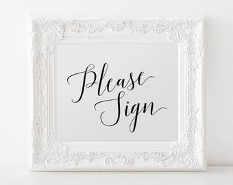 Please Sign Wedding Sign Printable, Please Sign Our Guestbook, Please Sign a Heart Sign, Please Sign a Leaf, Please Sign Our Guest Canvas