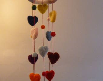 Needle felted hearts and balls Hanging mobile