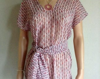 Tunic 36/38/40/42/44/46/48 dusty pink organza coral white printed ethnic