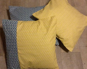 Trio covers for cushions, mustard and teal Scandinavian