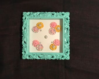 Mint Green Shadow Box with Flowers and Buttons.