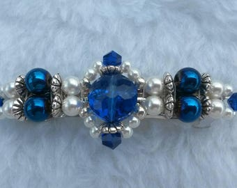 Beaded Barrette, Parallel Design, Blue and White, 3""
