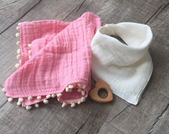 Baby lovey/ Muslin Pompom lovey blanket/baby lovey blanket or burpcloth with ivory pom trim/ Personalized lovey