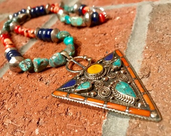 Moroccan Ethnic Lapis Lazuli/ Turquoise/ Coral Silver Fibulae Pendant handmade African bohemian necklace.