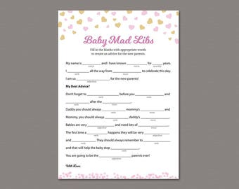 Mad Libs Baby Shower Game Printable, Girl Baby Shower Activity, Mad Libs, Pink Gold Heart Confetti, Advice for Mommy, Instant Download, SBS2