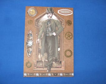 Steampunk birthday  Card for dad  with Verse, Steampunk Man, Gears, Cogs, Watches, Clock, Top Hat