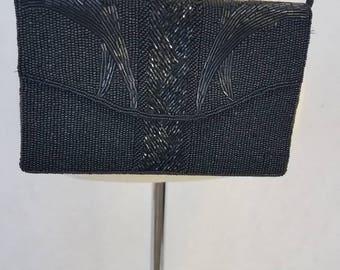 Black vintage beaded evening bag