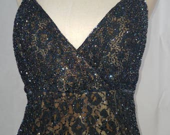 Gorgeous Cheetah/Leopard Print Lillie Rubin Beaded Vintage Gown