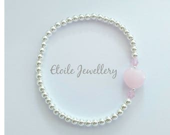Silver bracelet with pink heart, stretch bracelet, ball bracelet, heart bracelet, heart jewellery, bridesmaid jewellery