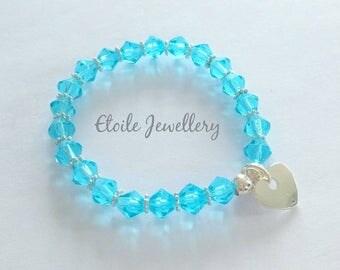 Turquoise Bracelet, Girls Bracelet, Glass Bead Bracelet, Silver Heart Bracelet, Stretch Bracelet, Childrens Bracelets, Blue Bracelet