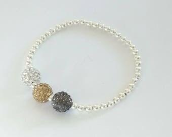 Grey, Gold & Clear Crystal Bracelet, Silver Bead Bracelet, Stretch Bracelet, Stacking Bracelet, Sparkly Bracelet