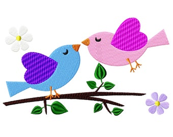Embroidery design, Machine Embroidery, Instant Download - 2 Birds in Love 18.5 x 10.8 cm