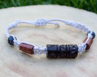 Macrame hemp bracelet, wood and ceramic beading