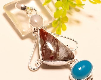 1 pc 925 Sterling Silver Laguna Agate and Blue Agate Charm Pendant, 2.57 inches, USA Seller