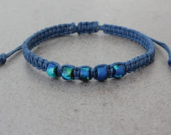 SALE Mens Bracelet, Woven Bracelet, Cotton Anniversary Gift for Him, Adjustable Bracelet, Mens Gift, Friends, Cord Bracelet, Gift for Men