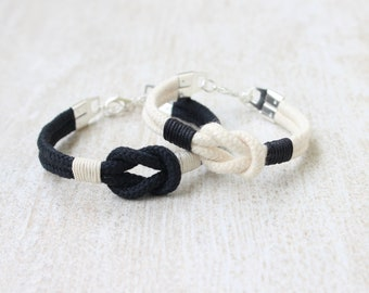 Long Distance Relationship Bracelet Cotton Anniversary Gift His And Her Bracelet Matching Rope Bracelet Set Black and White Couples Bracelet