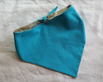 Shaped Tie End Dog Bandana - Reversible Teal with White Polka Dots/Stone with Cream and Teal Design