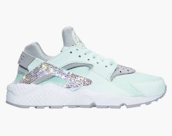 Crystal Bling Nike Air Huarache Shoes with Swarovski Crystals Women's Running Shoes Igloo Wolf Gray