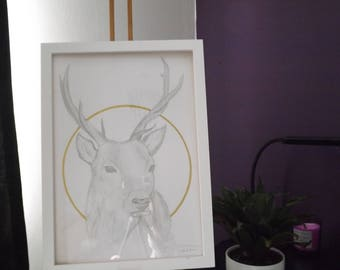 Golden Deer - ORIGINAL - Drawing and Gold Leaf