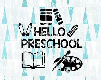 Hello PreSchool SVG, Kindergarten SVG, Pre-K SVG, Back to school SvG, Kids Svg, Instant download, Eps - Dxf - Png - Svg