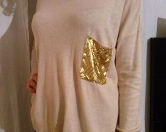 Beige viscose long sleeve sweater
