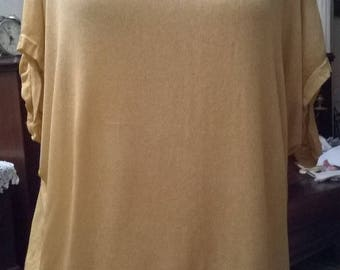 Overall sweater and tank top in viscose, cotton and lace mustard