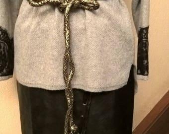 Belt cord black cotton and lurex