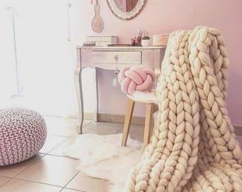 Chunky blanket Wool blanket 100 % merino wool king size Knit blanket Giant Throw super big bulky arm knitting home decor Christmas gift
