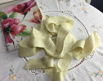 Silk ribbon, 3 yards natural dyed silk, hand dyed silk, wedding, floral arranging, 1 1/2 inch, 38 mm, styling ribbon, bridal ribbon, yellow