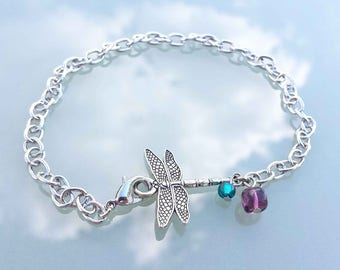 Dragonfly chain ankle bracelet, Beach anklets, Summer foot jewelry