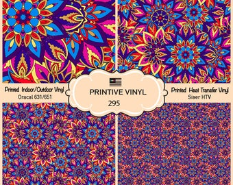 Ornate floral Printed Pattern Vinyl/Siser HTV/ Oracal/ Indoor Vinyl/ Outdoor Vinyl/ Heat Transfer Vinyl- 295