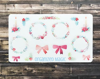 Holiday wreaths planner stickers, Christmas stickers, winter stickers