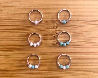 Rose Gold Filled Septum Ring Jewellery Jewelry Body Jewellery Daith Rook Helix Tragus Ethnic Boho Pretty Dainty Turquoise Pearl Interesting
