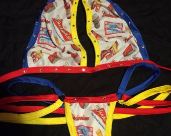 Red, White & Blue bikini Exotic Dancewear for stripper waitress or swimwear or competition or dancer outfit thong g string choker designer