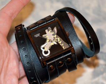 Wrap watch leather - Giraffe jewelry