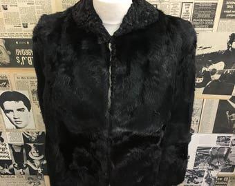 Original Vintage 1950's Fur Cape/Capelet Black FREE WORLDWIDE DELIVERY