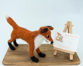 Needle felted standing fox - handmade by Woolly Wild Ones