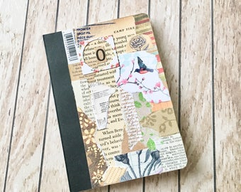 Little notebook, sketchbook, pocket notebook, mini journal, with vintage and modern paper collaged cover and blank sheets