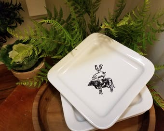Farmhouse style Dessert Plate - Hand Crafted transferware -
