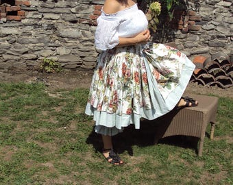 LUBILINES skirt shabby cotton sateen floral embroidered cotton one size and Vintage