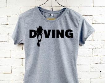 Scuba Dive Diver Diving Cool Gray T-Shirt For Women