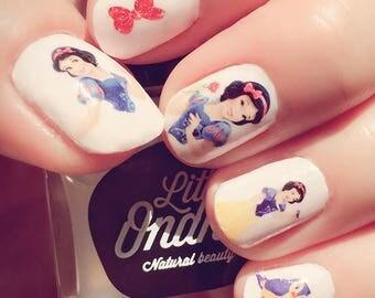 Snow White Disney nail transfers - illustrated nail art decals - Snow White, Princess  - Disney nail stickers