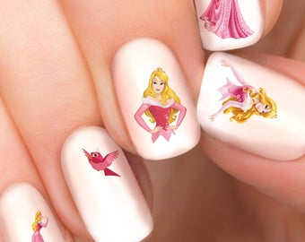 Aurora Disney nail transfers - illustrated nail art decals - Sleeping Beauty, Princess  - Disney nail stickers