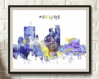 "Minneapolis Digital Poster, City skyline, Minneapolis Watercolor, Minnesota Cityscape, Minneapolis wall decor, Print up to 17""x24"""