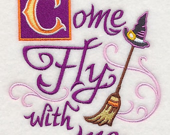 Come Fly with Me,  Embroidered Halloween Dish Towel, Tea Towel, Halloween Kitchen Decoration, Halloween Kitchen Towel, Witch Decoration