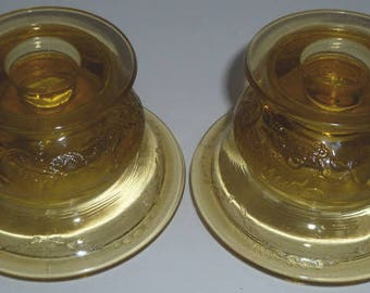 Federal Glass Madrid Amber Two (2) Single Light Candlesticks